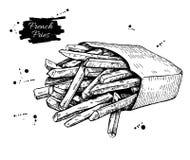 Het vector uitstekende frieten trekken Hand getrokken zwart-wit snel Stock Foto's