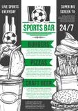 Het vector van de de barvoetbal van de voetbalsport menu van de het bierbar Royalty-vrije Stock Foto