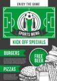 Het vector van de de barvoetbal van de voetbalsport ontwerp van het de barmenu Royalty-vrije Stock Afbeeldingen