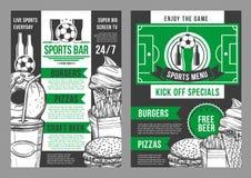 Het vector van de de barvoetbal van voetbalsporten ontwerp van het de barmenu Stock Afbeeldingen