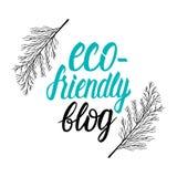 Het vector van de de bloginschrijving van Eco vriendschappelijke van letters voorziende teken Stock Foto's