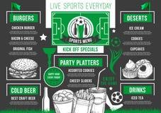 Het vector van het de voetbalbier van de voetbalbar menu van de de barmaaltijd Royalty-vrije Stock Foto