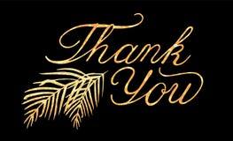 Het vector van letters voorzien dankt u met gouden folietextuur royalty-vrije illustratie