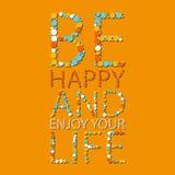 Het vector van letters voorzien De de zomeraffiche met Woorden is Gelukkig en geniet van uw leven Oranje, Blauwe Kleuren royalty-vrije stock foto's