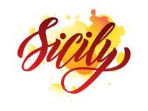 Het vector van letters voorzien van woord Sicilië op waterverfvlek stock illustratie
