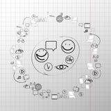 Het vector vastgestelde concept van het krabbelontwerp voor samenwerking stock illustratie