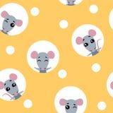Het vector vastgestelde naadloze patroon van het inzamelingsontwerp met dierlijke rat De rat kijkt uit de gaten in de kaas royalty-vrije illustratie
