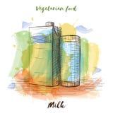 Het vector vegetarische voedsel van de waterverfschets Het voedsel van Eco Royalty-vrije Stock Afbeeldingen