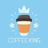 Het vector vlakke beeldverhaal van de koffiekoning en krabbelillustratie Kroon en sterrenpictogram Royalty-vrije Stock Fotografie