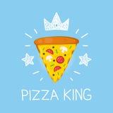 Het vector vlakke beeldverhaal van de koningspizza en krabbelillustratie Kroon en sterrenpictogram Stock Foto