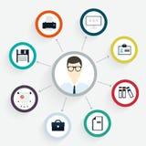 Het vector vlakke concept van het klantenbureau - pictogrammen en infographic desi Royalty-vrije Stock Afbeelding