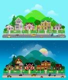 Het vector vlakke dorp van de plattelandsvoorstad: dag, nacht, huizen Royalty-vrije Stock Foto's