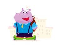 Het vector vlakke leuke die de studentenkarakter van de hippojongen per saldo rijdt status voor de schoolbouw op witte achtergron Stock Foto