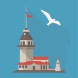 Het vector vlakke pictogram van de illustratieschaduw van de toren van het meisje Royalty-vrije Stock Afbeeldingen