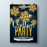 Het vector Vrolijke Malplaatje van het de Afficheontwerp van de Kerstmispartij met de Elementen van de Vakantietypografie en Glan royalty-vrije illustratie