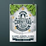 Het vector Vrolijke ontwerp van de Kerstmispartij met de elementen van de vakantietypografie en gouden sterren op uitstekende hou stock illustratie