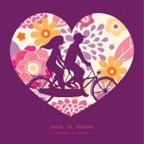 Het vector warme paar van de zomerinstallaties op fiets achter elkaar Royalty-vrije Stock Fotografie