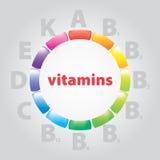 De vitaminen en de voeding van het embleem Stock Afbeelding