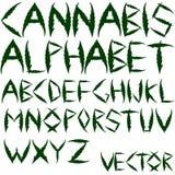 Het vectoralfabet van de cannabis Stock Foto