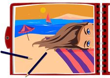 Het vectorbeeld, de kunstenaar schildert een meisje in een notitieboekje Royalty-vrije Stock Afbeeldingen