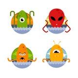 Het vectorbeeld Een reeks pictogrammen Overzeese monsters en vreemdelingen Stock Fotografie