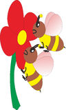 Het vectorbeeld van bijen zuigt de quintessentie van bloemen Royalty-vrije Stock Foto