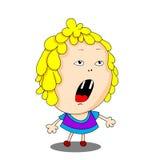Het vectorbeeld van het kleurenbeeldverhaal van een leuk meisje Stock Foto's