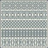 Het vectorbeeld van reeks naadloze uitstekende grenzen in de vorm van Keltisch ornament Stock Foto