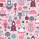 Het vectorbeeldverhaal naadloze patroon met vlakke vreemdelingen, spaceships, planeten, satellieten en kosmonaut royalty-vrije illustratie