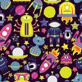 Het vectorbeeldverhaal naadloze patroon met vlakke vreemdelingen, spaceships, planeten, satellieten en kosmonaut vector illustratie