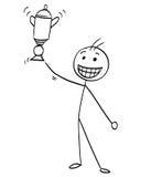 Het vectorbeeldverhaal van de Stokmens van de Gelukkige Mens die Trofee het Winnen houden Royalty-vrije Stock Foto