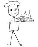Het vectorbeeldverhaal van de Stokmens van Mannelijke Cook Chef in de Plaat van de Hoedenholding stock illustratie