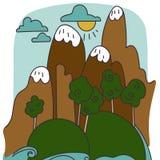 Het vectorbeeldverhaal van het berglandschap Stock Fotografie
