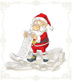 Het Vectorbeeldverhaal van Santa Claus Reading Big Presents Wishlist Royalty-vrije Stock Fotografie