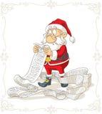 Het Vectorbeeldverhaal van Santa Claus Reading Big Presents Wishlist Royalty-vrije Stock Fotografie