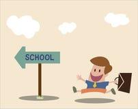 Het vectorbeeldverhaal van Student gaat naar school Royalty-vrije Stock Afbeelding