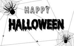 Het vectorbeeldverhaalkarakter de gelukkige Spinnen van Halloween en van de verschrikking is groot en klein, kalligrafie op vakan stock foto's