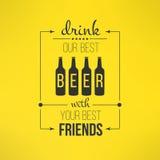 Het vectorbier met vrienden citeert typografisch Stock Afbeeldingen