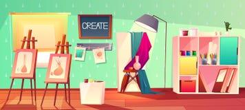 Het vectorbinnenland van de kunststudio Creatieve workshopruimte vector illustratie