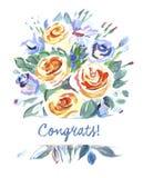 Het vectorboeket van de groetkaart van bloemen Royalty-vrije Stock Foto's