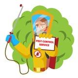 Het Vectorconcept van de antimicrobenhygiëne Arbeiders Bespuitend Pesticide Chemische Beschermende Kostuumtermieten desinfectie Stock Foto's
