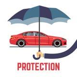 Het vectorconcept van de autoverzekering met de paraplu van de handholding stock illustratie