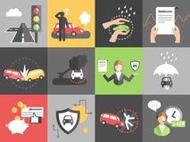 Het vectorconcept van de autoverzekering in vlakke stijl Royalty-vrije Stock Afbeelding