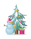 Het Vectorconcept van de de wintervakantie in Vlak Ontwerp Stock Foto