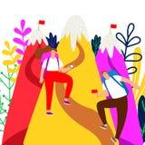 Het vectorconcept van de doelvoltooiing Kerel en meisjesklimmers en bergenillustraties stock illustratie