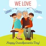 Het vectorconcept van de grootoudersdag Illustratie met gelukkige familie Grootvader, grootmoeder en kleinkinderen Stock Fotografie