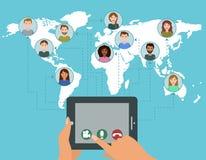 Het vectorconcept van de videoconferentievraag Stock Afbeelding