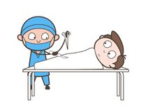 Het Vectorconcept van Doing Abdominal Operation van de beeldverhaalchirurg Royalty-vrije Stock Foto's