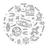 Het vectorconcept van het lijnontwerp voor astronomie royalty-vrije illustratie