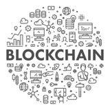 Het vectorconcept van het lijnweb blockchain Stock Foto's